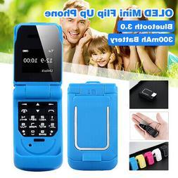 "0.66"" OLED Mini Bluetooth Flip Up Mobile Phone SOS Dialer St"