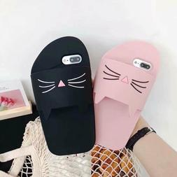 3D Beard Cat Slipper Flip Flop Soft Silicone Phone Case For