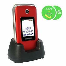 Ushining 3G Unlocked Flip Cell Phone for Senior & Kids,Easy-