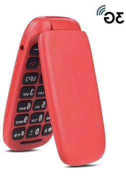 Ushining 3G Unlocked Flip Phone Large Icon Cell Phone Easy t