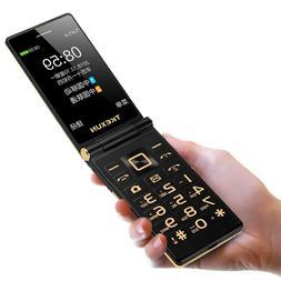 "TKEXUN 3G WCDMA Flip Phone 5800mAh 3"" Dual Touchscreen Bluet"