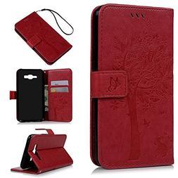 J7 Case,Samsung Galaxy J7 Case  - Wallet Embossed Butterflie