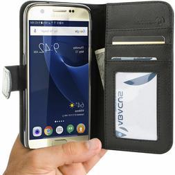 Abacus24-7 Samsung Galaxy S7 Wallet Flip Case Cover, Black
