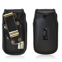 Turtleback Alcatel 768 Heavy Duty Leather Flip Phone Case wi