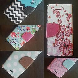 For Apple iPhone 5C Phone Magnetic Flip Folio Wallet Card PU