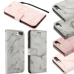 For Apple iPhone 7 & 7 PLUS Premium Marble Leather Wallet Po