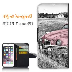 For Apple iPhone 7 PLUS Wallet Flip Phone Case Cover Pink Vi