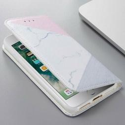 For Apple iPhone & Samsung Premium Marble Leather Wallet Pou