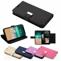 For Apple iPhone XR Leather Wallet Flip Dual Card Holder Pho