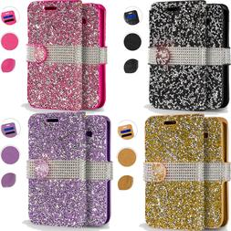 For Apple iPhone XS Max Premium Bling Diamond Wallet Case Fl