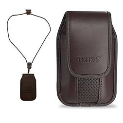 Around the Neck Hanging Lanyard Magnetic Top Brown Case fits