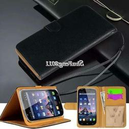 """Black Flip Cover Stand Wallet Leather Case For 4"""" 4.5"""" 5"""" SW"""