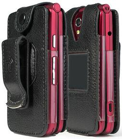 Black Vegan Leather Case with Belt Clip for GreatCall Jitter