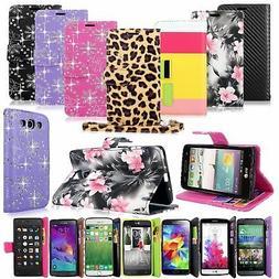 Bling Glitter Pu Leather Flip Wallet Pocket Case W/Strap For