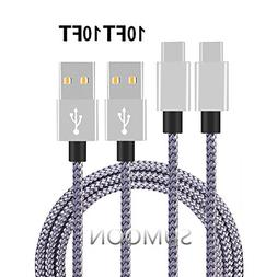 Type C Cable, SUMOON 2 Pack 10FT Nylon Braided USB A to USB