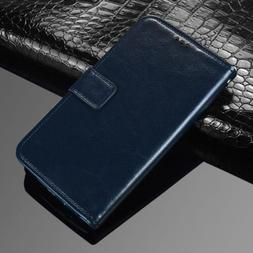 (Dark blue) Premium PU Leather Flip Case Wallet Stand Co
