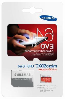 Samsung EVO+ 64 GB microSDXC - Class 10/UHS-I  - 80 MB/s Rea