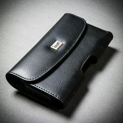 Belt Clip Flip Cell Phone Case Pouch Black Leather Cover for