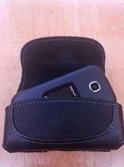 Flip Phone Small Leather Holster/ Case with Belt Loop & Clip