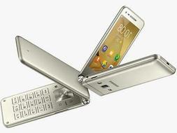 """Samsung Galaxy Folder 2 G1600 3.8"""" Gold 16GB Dual Sim Androi"""