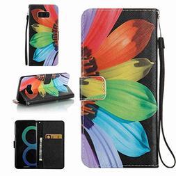Galaxy S8 Plus Case, Jeccy  Slim PU Leather Flip Folio Magne
