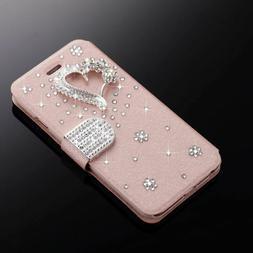 Glitter Bling Diamond Magnetic Flip Wallet Case Phone Cover