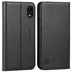 iPhone XR Case, SHIELDON Genuine Leather Flip iPhone XR Wall
