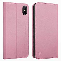 Zover iPhone Xs Case, iPhone X Wallet Case Genuine Leather C