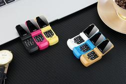 J9 Mini Flip cell Phone 0.66 Bluetooth Dialer Phone 2G quad