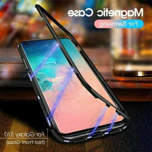 Magnetic Metal Adsorption Flip Tempered Glass Case Cover For