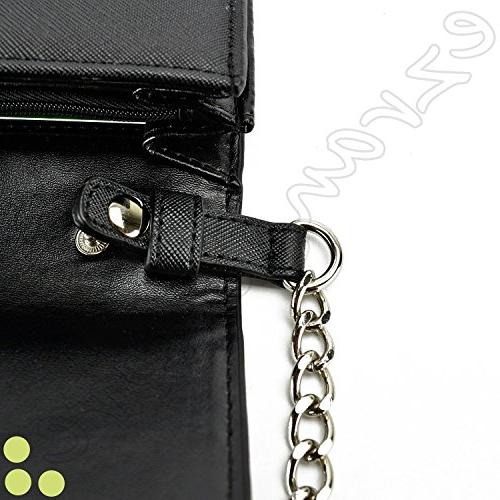 Case+Stand Women Purse/Pouch/Clutch Fits ALCATEL Sony Universal Phone PU Strap Handle Flip Wallet – Fits Following