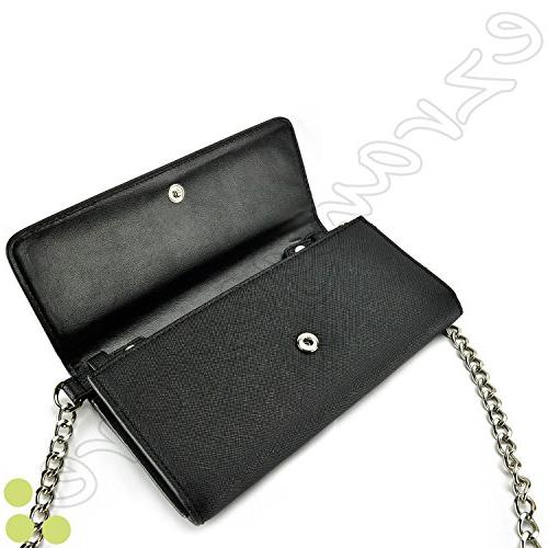 Case+Stand Women Fits Sony Smart Phone PU Leather Strap Handle – Black. Fits Following Models: