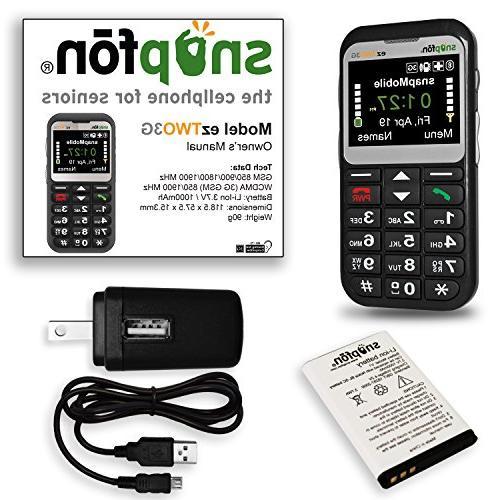 Snapfon ezTWO Unlocked GSM Cell Button, Hearing Compatible