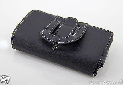 black faux leather clip pouch holster flip