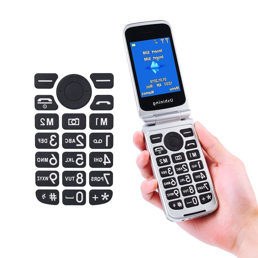 <font><b>Ushining</b></font> <font><b>Phone</b></font> <font><b>Phone</b></font> Dual Screen SIM Red 3G Big Easy-to-Use