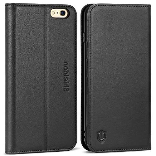 SHIELDON Genuine Leather Wallet Case Cover Stand Card Slot f