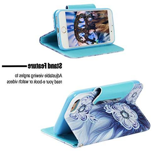 Badalink iPhone Case Wallet, iPhone Flip Cover Painting Skin Magnetic Closure Shell Strip Slots for / 8