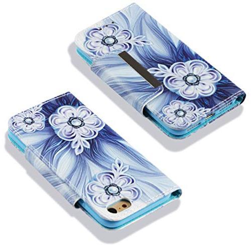 Badalink 8 Wallet, 7 Case Flip Painting Skin Magnetic Shell Wristlet Strip Slots for / iPhone 8
