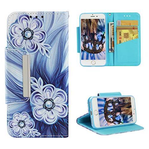 Badalink Wallet, 7 Flip Color Painting Skin Closure Shell Wristlet Strip Slots iPhone 7 / iPhone