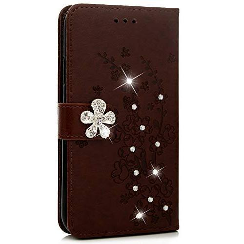 Badalink Xr Case, iPhone Wallet Flip Kickstand Cover Diamond Blossom Soft TPU Shell Card Pen for 6.1 Inch 2018 - Brown