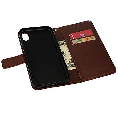 Badalink Case, Wallet Cover Diamond Plum Blossom Soft Magnetic Shell 6.1 Inch 2018 - Brown