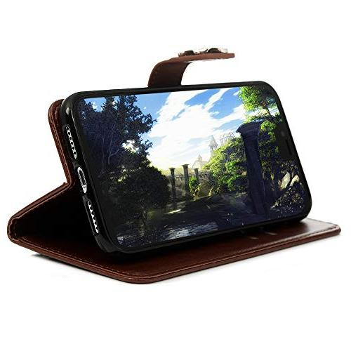 Badalink 6.1 Case, Wallet Flip Cover Plum Soft TPU Magnetic Shell Card Slot Stylus Pen for iPhone Xr 6.1 2018 - Brown