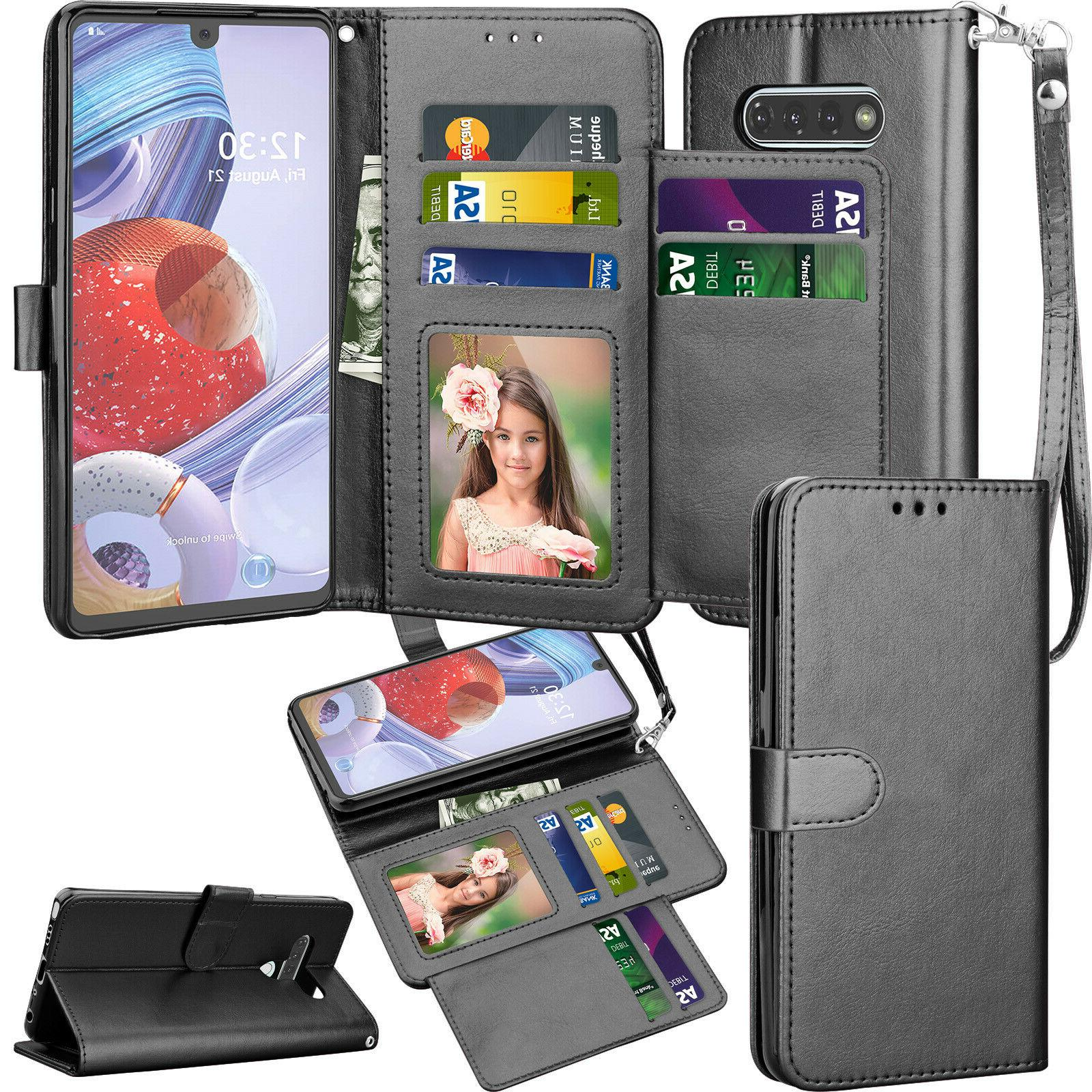 For LG Phone Wallet Leather Holder Stand Protective