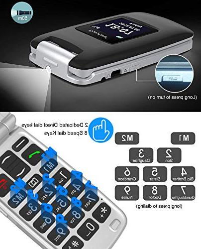 Easyfone Prime A1 3G Unlocked Senior Flip Phone, Button Hearing Aids Phone with Charging Dock