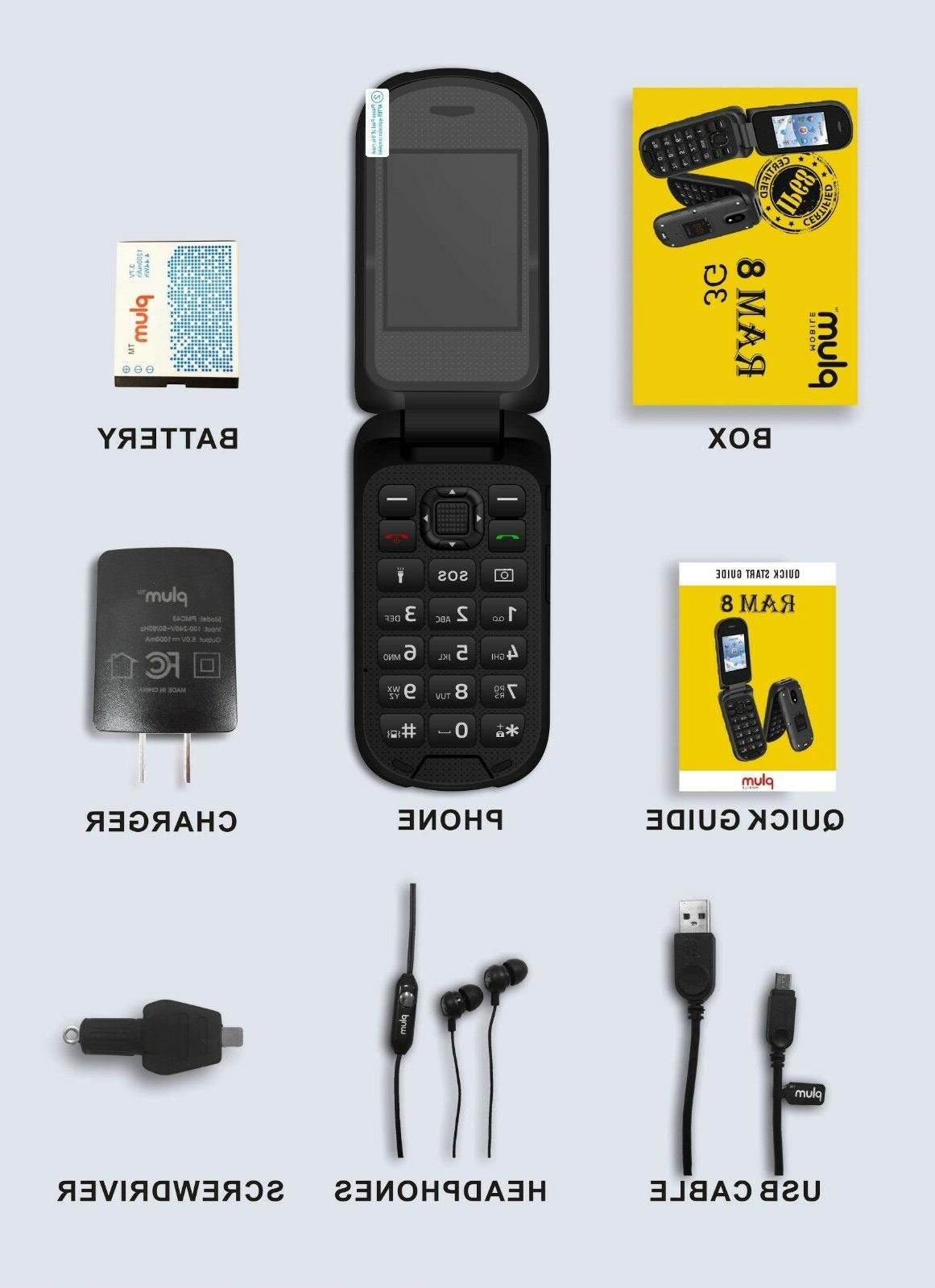 Plum Ram Rugged Flip Phone ATT Talk