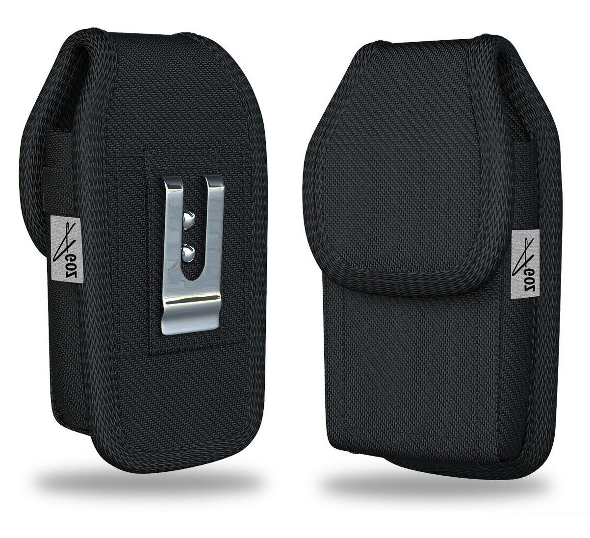 rugged canvas vertical belt clip case pouch