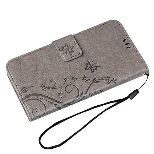S6 Case,Samsung Case - BADALink Wallet Premium Embossed Cover Hand Strap & 3D Elephant Dust Plug Pen -