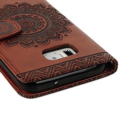 S7 Edge Case,Galaxy S7 Case - Wallet 3D Embossed Flower Magnetic Cover Leather Soft TPU Hand & Plug Badalink -