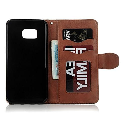 S7 S7 - Wallet 3D Embossed Flower Magnetic Cover Leather Holders Soft Hand Strap Plug & Stylus Badalink Brown