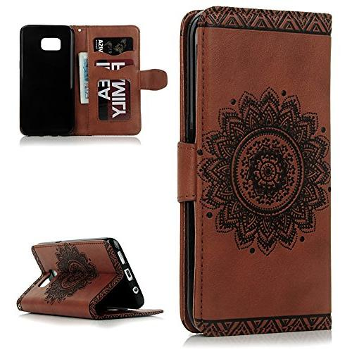 S7 S7 Edge Wallet Magnetic Leather Kickstand Soft TPU Inner Hand & Dust Plug & Badalink - Brown